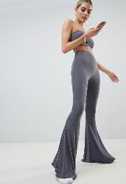 flared trouser co ord in grey