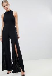 High Neck Jumpsuit With Front Thigh Split