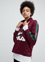 Funnel Neck Track Top In All Over Logo