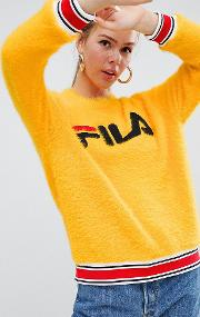 jumper with sports waistband  logo front in fluffy knit