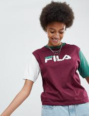 Oversized Boyfriend T Shirt With Chest Logo And Colour Block Sleeves