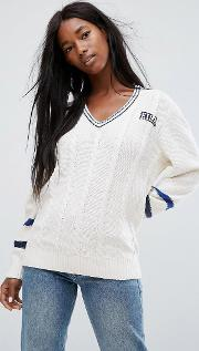 oversized cricket jumper with stripe sleeve detail