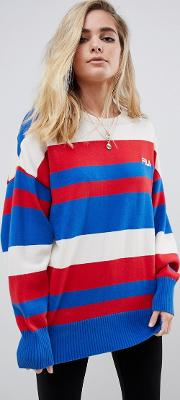 oversized jumper with chest logo in stripe knit
