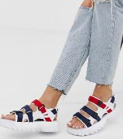 Red And Blue Disruptor Sandals