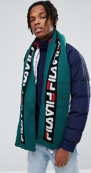 Fila Scarf With Repeat Logo In Green
