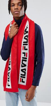 Fila Scarf With Repeat Logo In Red