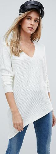 asymmetric v neck jumper
