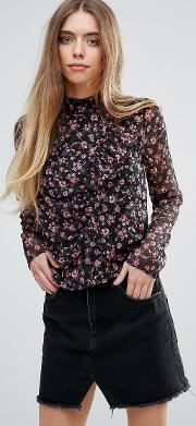First &  Floral High Neck Victorianna Blouse