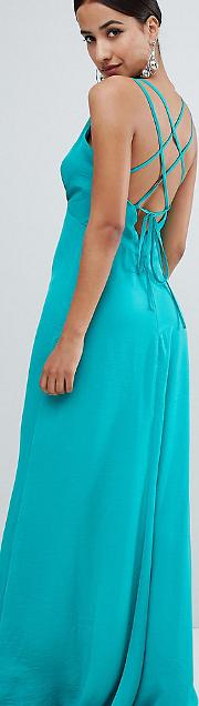 plunge front maxi dress with strappy back