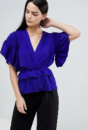 Ruffle Detail Blouse With Tie Waist