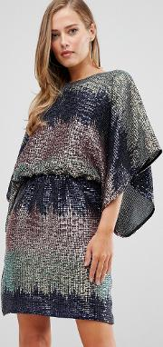 Sequin Batwing Mini Dress Ombre
