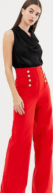 Wide Leg Trousers With Gold Button Detail