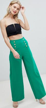 Wide Leg Tailored Trouser With Gold Button Detail