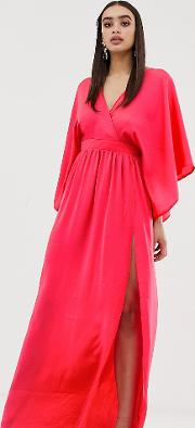 Wrap Front Kimono Maxi Dress With Thigh Split