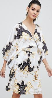 Wrap Front Satin Midi Dress With Kimono Sleeve Print