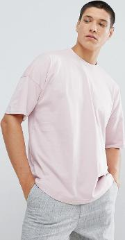 dropped shoulder t shirt in pink