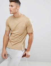 t shirt with pocket detail in stone