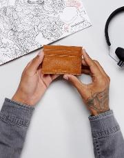 Leather Card Holder In Tan