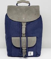 leather lincoln backpack  navy