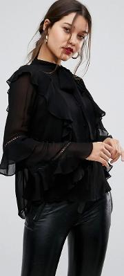 chiffon blouse with tie neck
