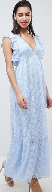 embroidered maxi dress with ruffle detail