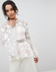 floral organza sheer blouse with lace trim and flueted sleeve