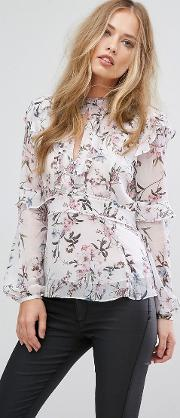 high neck frill blouse in floral print