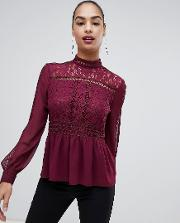Lace Detail Blouse With High Neck