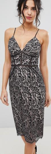 lace embroidered pencil dress