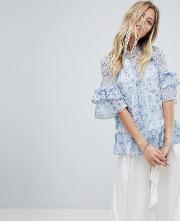 layered blouse in floral print