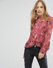 printed chiffon blouse with bow tie