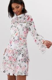 Tiered Floral Printed Mini Skater Dress