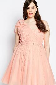 One Shoulder Pleated Prom Dress