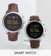 Q Ftw4003 Explorist Leather Smart Watch In Brown