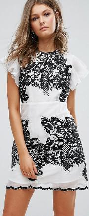 Embroidered Mini Dress With Ruffle Sleeves