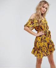 floral cold shoulder wrap dress