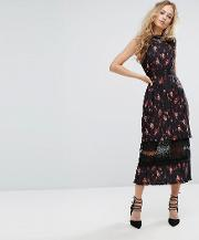 pleated floral midi dress with lace insert