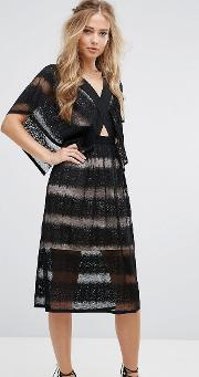 sheer lace kimono sleeve dress