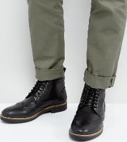 brogue boots black leather