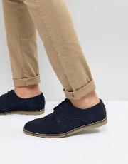 lace up shoes in navy suede