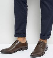 Toe Cap Derby Shoes In Brown Leather