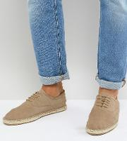 wide fit lace up espadrilles in beige suede
