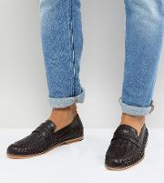 wide fit woven loafers in brown leather