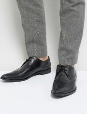 Wing Tip Brogue Shoes  Black Leather