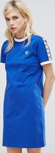 archive t shirt dress with logo tape