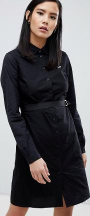 black shirt dress with contrast stitching