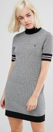 high neck knitted dress with houndstooth print