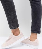 lace up trainers with patent trim
