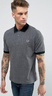fred perry reissues polo pique contrast collar in graphite marl