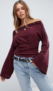 Crazy On You Cropped Thermal Fla Sleeve Top